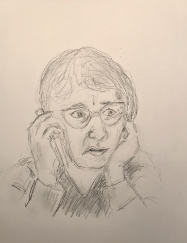 Pencil Sketch: Quarantine Portrait Series: On the Phone