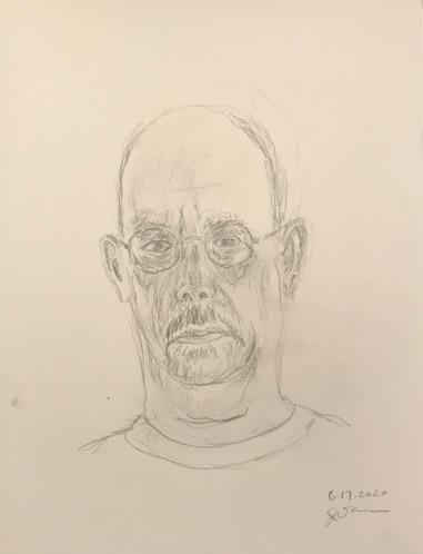 Pencil Sketch: Quarantine Portrait Series: Self Portrait, Dark