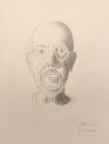 Pencil Sketch: Quarantine Portrait Series: Self Portrait, Half Silhouette