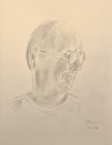 Pencil Sketch: Quarantine Portrait Series: Self Portrait in Shadow