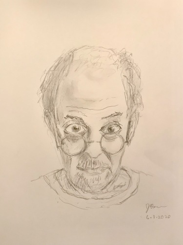 Pencil Sketch: Quarantine Portrait Series: Self Portrait - Peering Over My Glasses