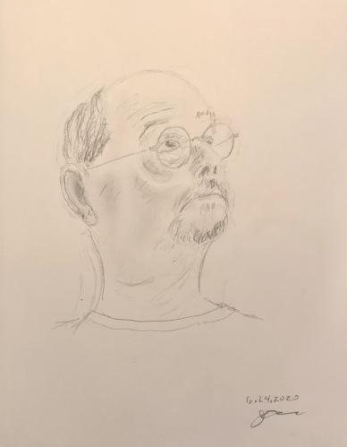 Pencil Sketch: Quarantine Portrait Series: Self Portrait Looking Upward