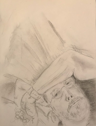 Pencil Sketch: Quarantine Portrait Series: Self Portrait, Pensive Mood