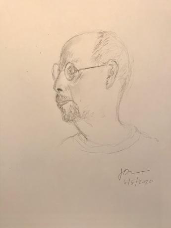 Pencil Sketch: Quarantine Portrait Series: Self Portrait, Profile