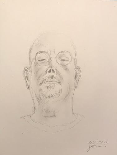 Pencil Sketch: Quarantine Portrait Series: Self Portrait, Reclining