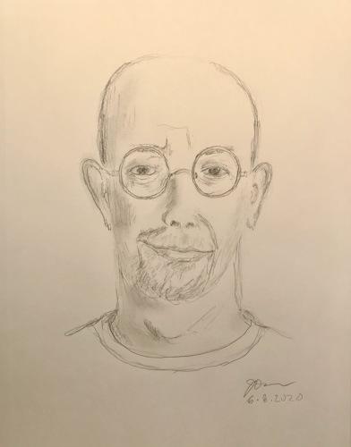 Pencil Sketch: Quarantine Portrait Series: Self Portrait - Slight Asymmetry