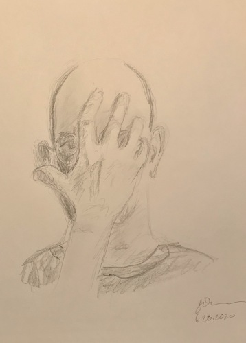 Pencil Sketch: Quarantine Portrait Series: Self Portrait with Hand