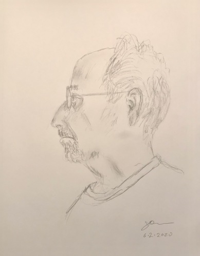 Pencil Sketch: Quarantine Portrait Series: Self Portrait with Long Hair, Profile