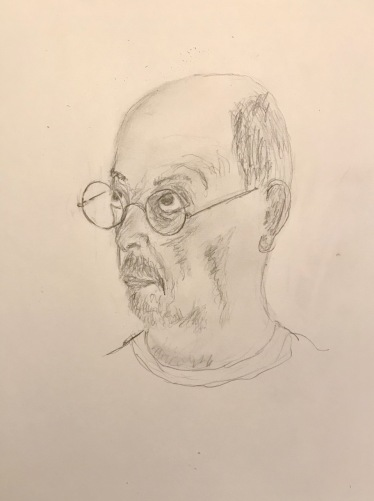 Pencil Sketch: Quarantine Portrait Series: Shaded Self Portrait Looking Up