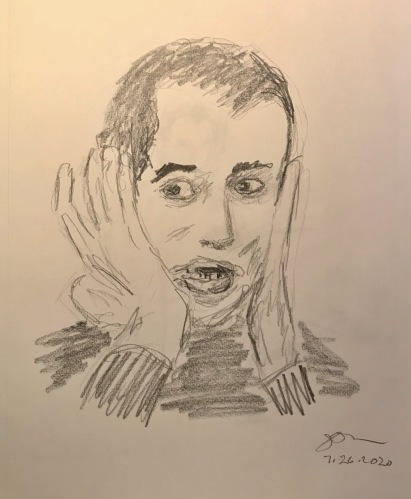 Pencil Sketch: Mike Sketch Series: Mike with Hands on his Face 1991