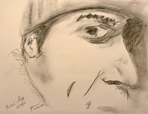 Pencil Sketch: Mike Sketch Project: Mike's Eye Looking at Me June 1990