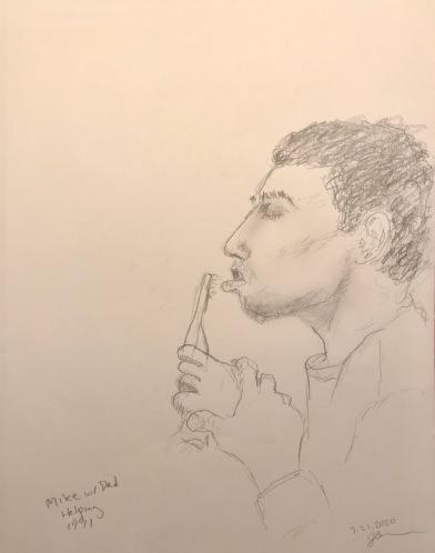Pencil Sketch: Mike Sketch Series: Dad Helping Mike December 1991