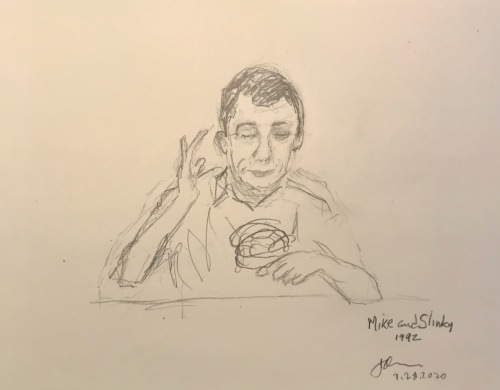 Pencil Sketch: Mike Sketch Series: Mike and his Slinky 1992