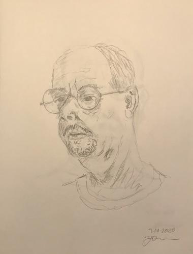 Pencil Sketch: Quarantine Portrait Series: Self Portrait, 3/4 Practice