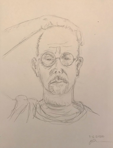 Pencil Sketch: Quarantine Portrait Series: Self Portrait after Covid Test