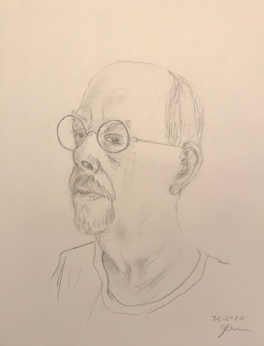 Pencil Sketch: Quarantine Portrait Series: Self Portrait, Clean Shaven, Three Quarters Profile
