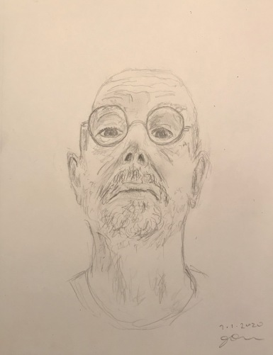 Pencil Sketch: Quarantine Portrait Series: Self Portrait - Preparing for Covid 19 Test