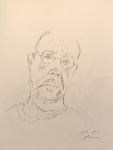 Pencil Sketch: Quarantine Portrait Series: Self Portrait, Tilted Head