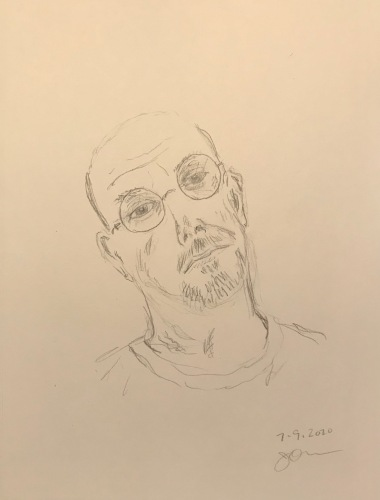 Pencil Sketch: Quarantine Portrait Series: Self Portrait, Tired