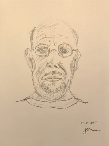 Pencil Sketch: Quarantine Portrait Series: Self Portrait with Double Chin and Jowls