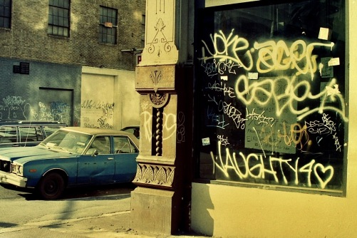 Photography: Vintage Photo: Car, Graffit and Architectural Detal NYC December 1991