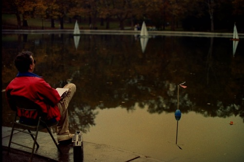 Photography:Vintage Photo: Man Relaxing at Sailing Pond in Central Park, NYC October 1991