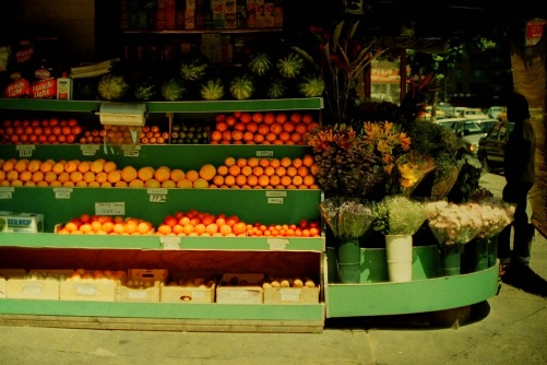 Photography: Vintage Photo: Fruitstand with Oranges, Reds and Flowers August 1991