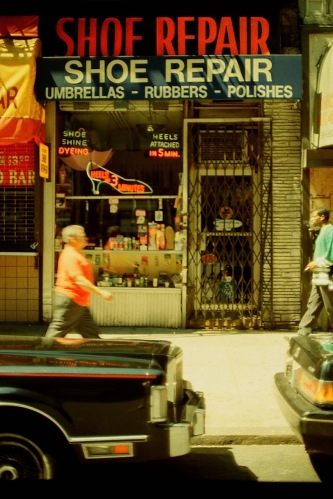Photography: Vintage Photo: Shoe Repair, Umbrellas - Rubbers - Polishes, NYC August 1991