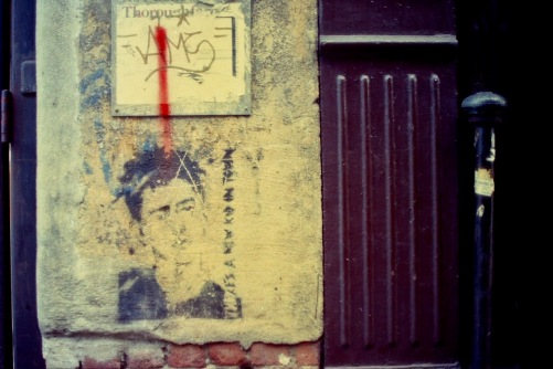 Photography: Vintage Photo: Face Stencil on Building, NYC, December 1991