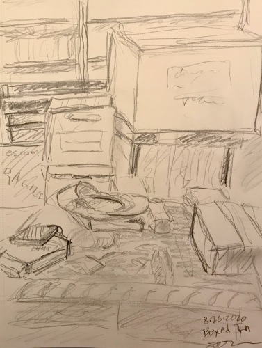 Pencil Sketch: Former Art Studio, Current Staging Area