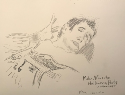 Pencil Sketch: Mike Sketch Series: Mike After the Halloween Party October 1992