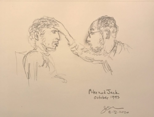 Pencil Sketch: Mike Sketch Series: Mike and Jack, October 1993