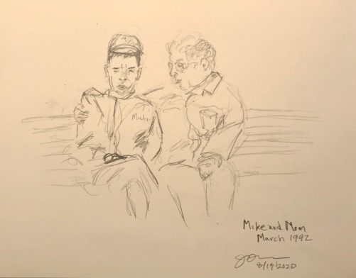 Pencil Sketch: Mike Sketch Series: Mike and Mom, March 1992