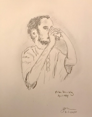 Pencil Sketch: Mike Sketch Series: Mike Drinking, April 1994