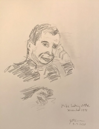 Pencil Sketch: Mike Sketch Series: Mike Looking at Me, December 1991
