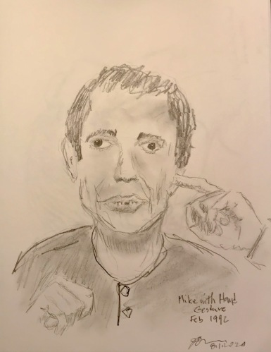 Pencil Sketch: Mike Sketch Series: Mike with Hand Gesture, February 1992