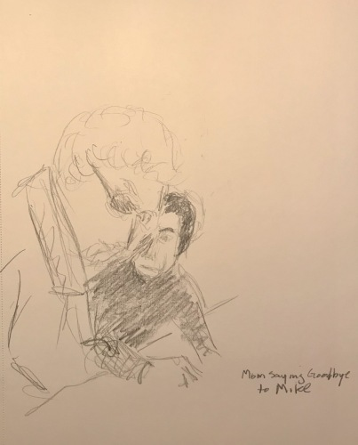 Pencil Sketch: Mike Sketch Series: Mom Saying Goodbye to Mike April 1993