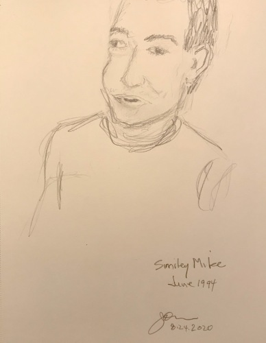 Pencil Sketch: Mike Sketch Series: Smiley Mike, June 1994