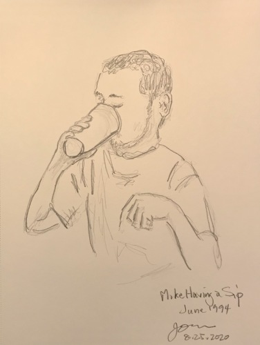 Pencil Sketch: Mike Sketch Series: Mike Having a Sip, June 1994
