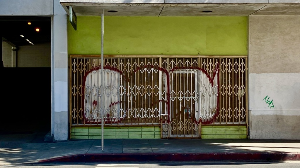 Street Photography: Green, Graffitied, Gated Store Front