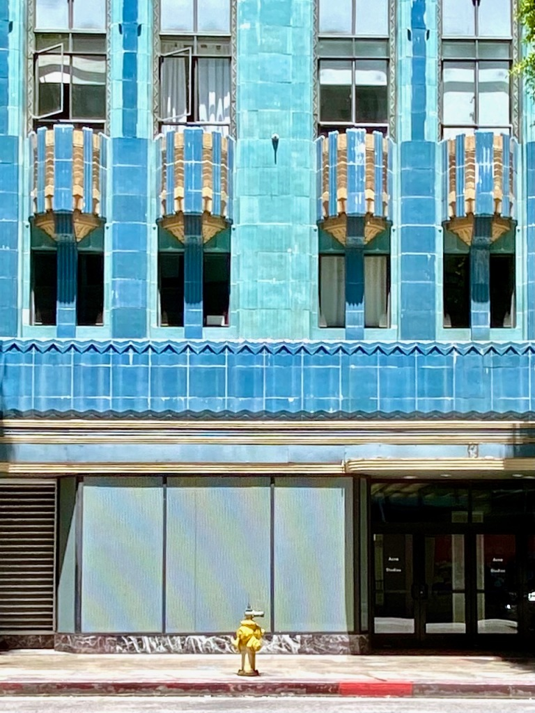 Street Photography: Blue Building, Yellow Hydrant and Red