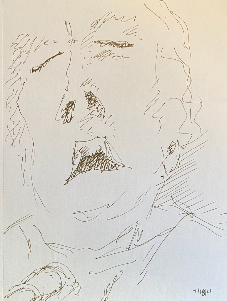 Pen and Ink Sketch: Portrait of Mike with Ventilator Hook Up