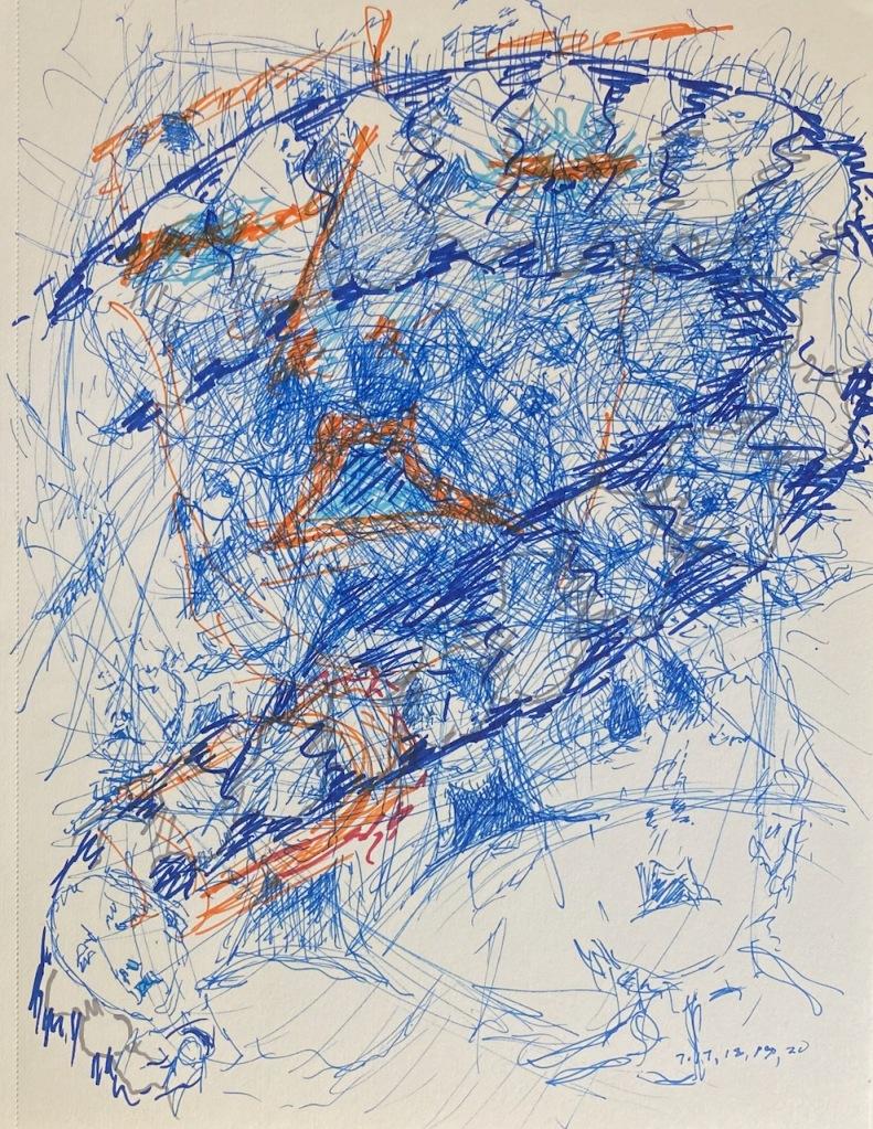 Pen, Ink, Marker Sketch: Mike's Lifeline