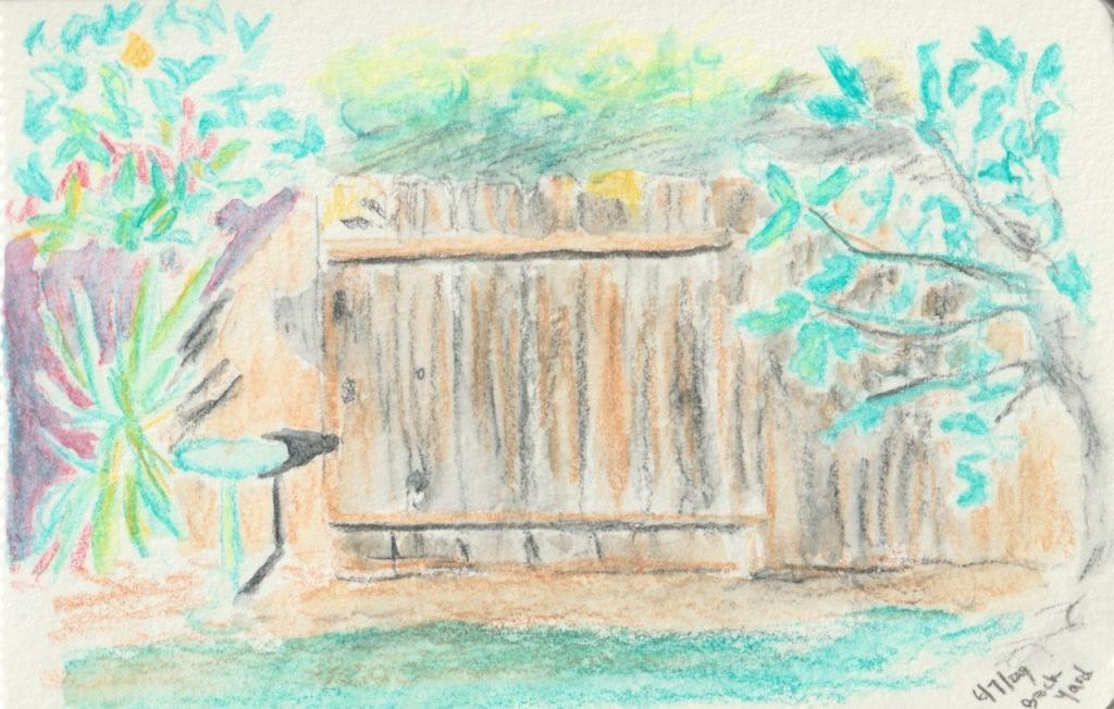 Sketch Book Series: Watercolor Pencil Sketch Back Yard 2009