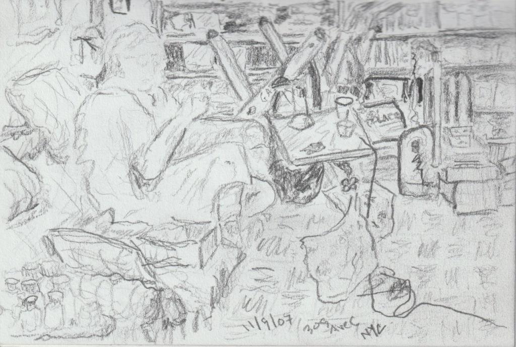 Vintage Sketchbook Series: Messy Apartment and Portrait 2007