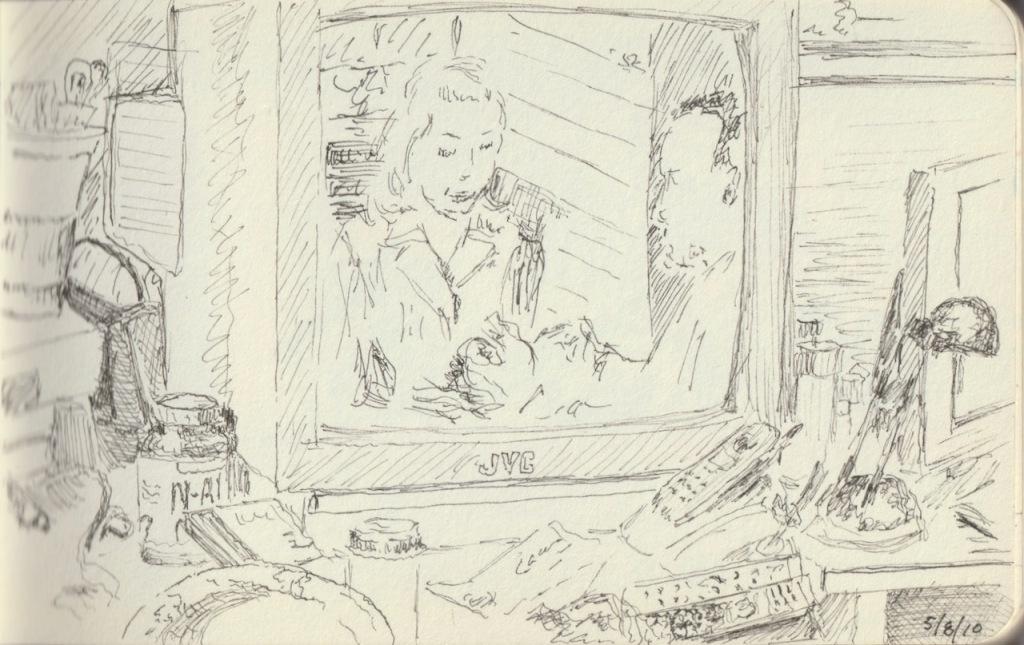 Vintage Sketch Book Sketch: To Have and Have Desktop on the Desk (May 2010)