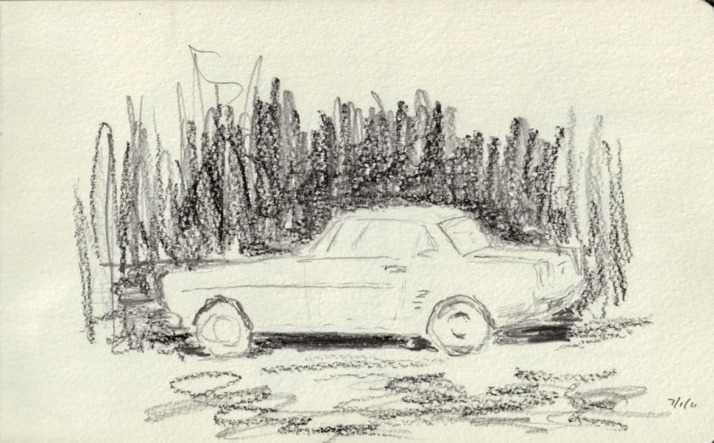 Vintage Sketch Book Series: Car with Negative Space