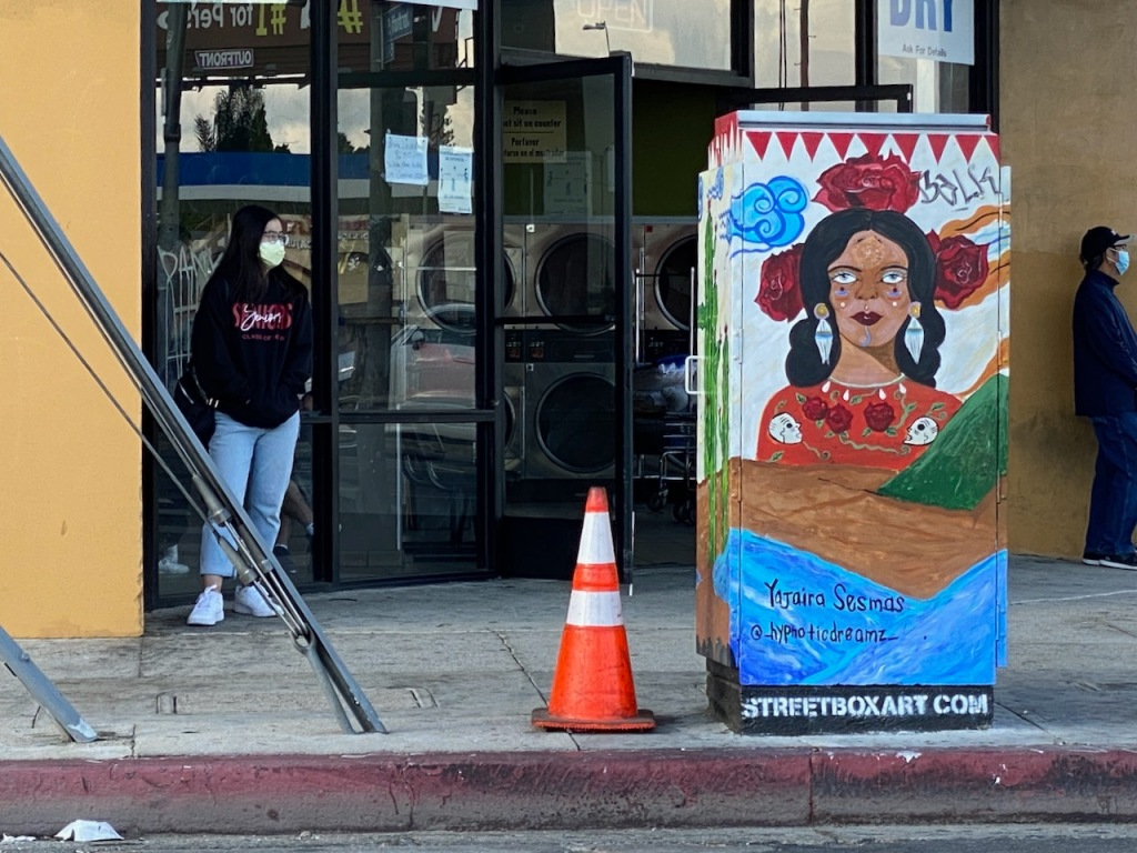 Street Photography: Cone and Painted Electric Box